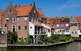 Картинка город, река, фото, дома, Нидерланды, Enkhuizen