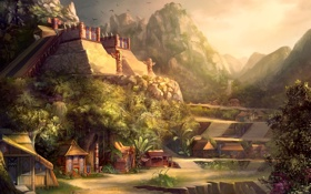 Обои деревья, горы, здания, хижины, храм, ацтеки