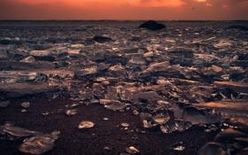 Обои закат, осколки, лёд
