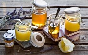 Картинка лимон, банки, мёд