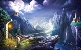 Обои пейзаж, горы, река, замок, обрыв, скалы, луна