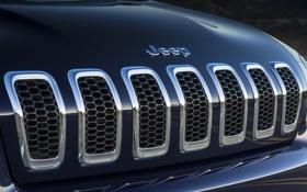 Обои знак, решётка, хром, Jeep Cherokee Limited