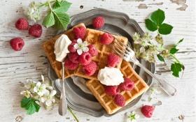 Обои малина, сладость, вафли, выпечка, raspberry, waffles, pastries