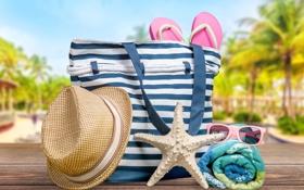 Обои пляж, лето, отдых, полотенце, шляпа, очки, summer