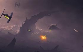 Картинка взрыв, люди, скалы, планета, корабли, арт, star wars