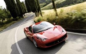 Обои дорога, машина, пейзаж, разметка, обои, Феррари, Ferrari