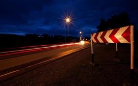 Картинка дорога, ночь, город, знак