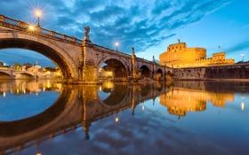 Обои мост, огни, отражение, река, Рим, Италия