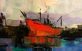 Обои фон, корабль, картина