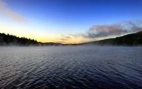 Картинка пейзаж, природа, озеро, утро