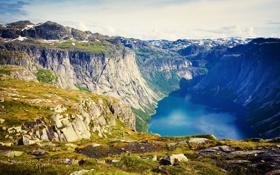 Картинка горы, озеро, камни, скалы, Норвегия, ущелье, Lofoten