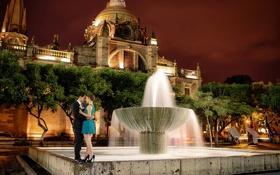 Картинка девушка, ночь, город, настроение, фонтан, парень