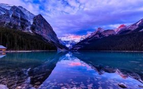 Картинка лес, рассвет, облака, озеро, природа, горы, снег