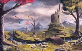 Обои осень, деревья, тучи, мост, ручей, башня, арт