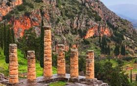 Обои храм Аполлона, горы, Дельфы, Греция, деревья