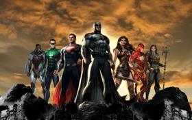 Картинка Batman, art, Superman, Cyborg, Flash, Aquaman, Justice League