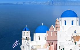 Обои природа, город, здания, дома, Санторини, Греция, флаг