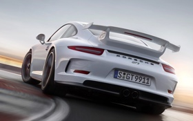 Обои 911, Porsche, спойлер, GT3, задок