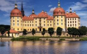 Обои вода, деревья, Германия, Замок, Germany, шпили, castle