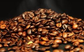 Обои макро, фото, зерно, дым, кофе, текстура, пар
