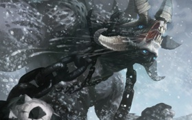 Обои снег, шар, монстр, арт, шипы, рога, цепи