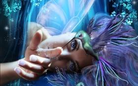 Картинка глаза, девушка, полет, птицы, лицо, фантастика, магия