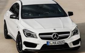 Картинка белый, фары, Mercedes-Benz, мерседес, AMG, передок, CLA