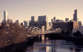 Картинка осень, мост, река, небоскребы, чикаго, chicago