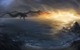 Картинка море, полет, закат, скалы, драконы, арт