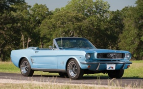Обои дорога, деревья, голубой, Mustang, Ford, Кабриолет, Форд