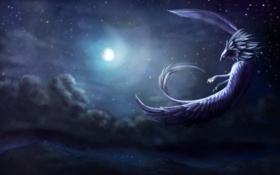 Обои небо, полет, ночь, фантастика, луна, крылья, существо