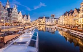 Картинка река, небо, огни, Фландрия, Бельгия, люди, дома