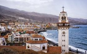Картинка горы, побережье, здания, панорама, Испания, Spain, Канарские острова