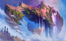Картинка замок, скалы, остров, воздушный, водопады, Ether Saga Online
