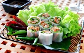 Картинка листья, красный, зеленый, еда, перец, салат, роллы