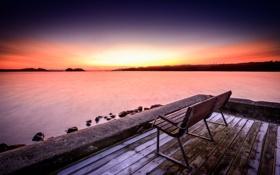 Картинка закат, пейзаж, скамья