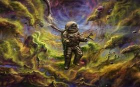 Обои космос, смерть, кровь, космонавт, арт