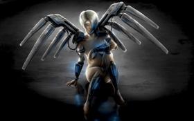 Обои робот, крылья, девушка
