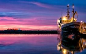 Картинка закат, небо, вода, корабль, море