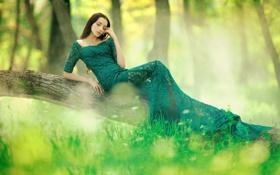Обои лес, Rafa, зелень, девушка, в зелёном, платье