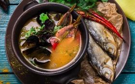 Картинка зелень, рыба, суп, специи, моллюски