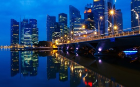 Обои малазия, вечер, огни, город, сингапур, Singapore, мост