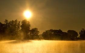 Картинка пейзаж, природа, туман, озеро