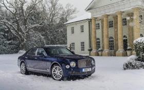 Картинка Зима, Bentley, Синий, Снег, Дом, Машина, Передок
