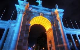 Обои свет, ночь, огни, улица, ворота, канада, колонна