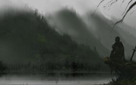 Картинка горы, огни, туман, озеро, оружие, холмы, человек