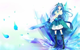 Обои меч, арт, девочка, белый фон, кристаллы, голубые волосы, skycrystali