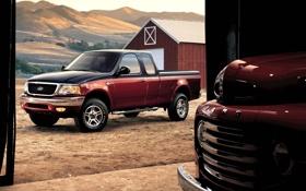 Обои ретро, тень, амбар, ford, форд, ракурс, f-150
