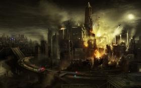 Обои дорога, ночь, город, пожар, конец света, inFamous