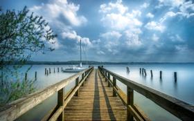 Картинка пейзаж, мост, озеро, лодка